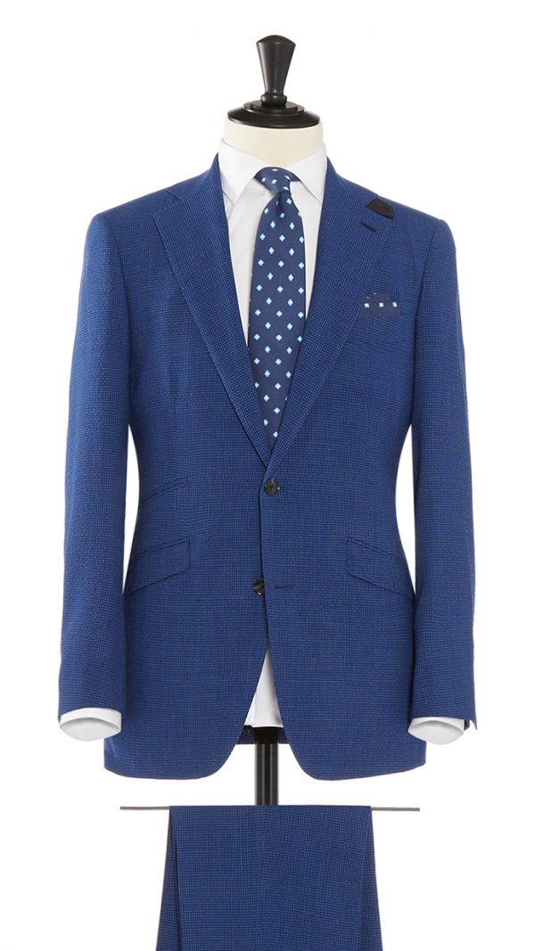 Blue Wool with Stretch Micro Check Suit