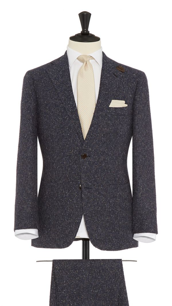 Navy Blue and Brown Linen and Polymide Boucle Suit