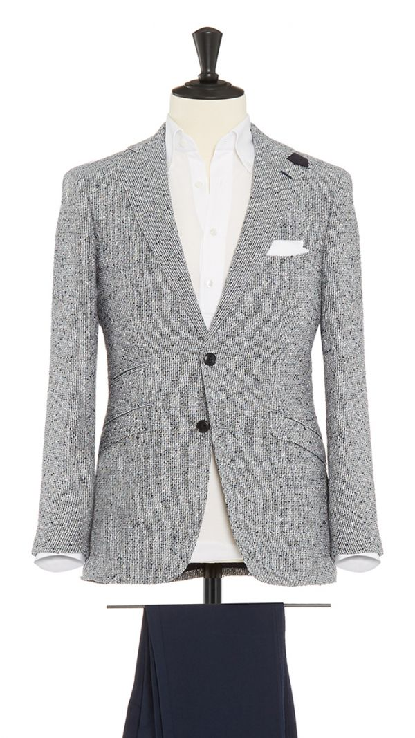 Grey, White and Blue Linen and Polymide Jacket