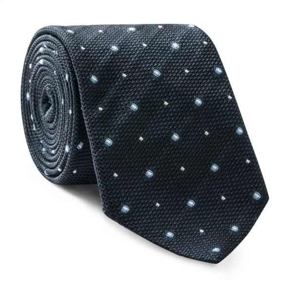 Blue and White Spotted Tie