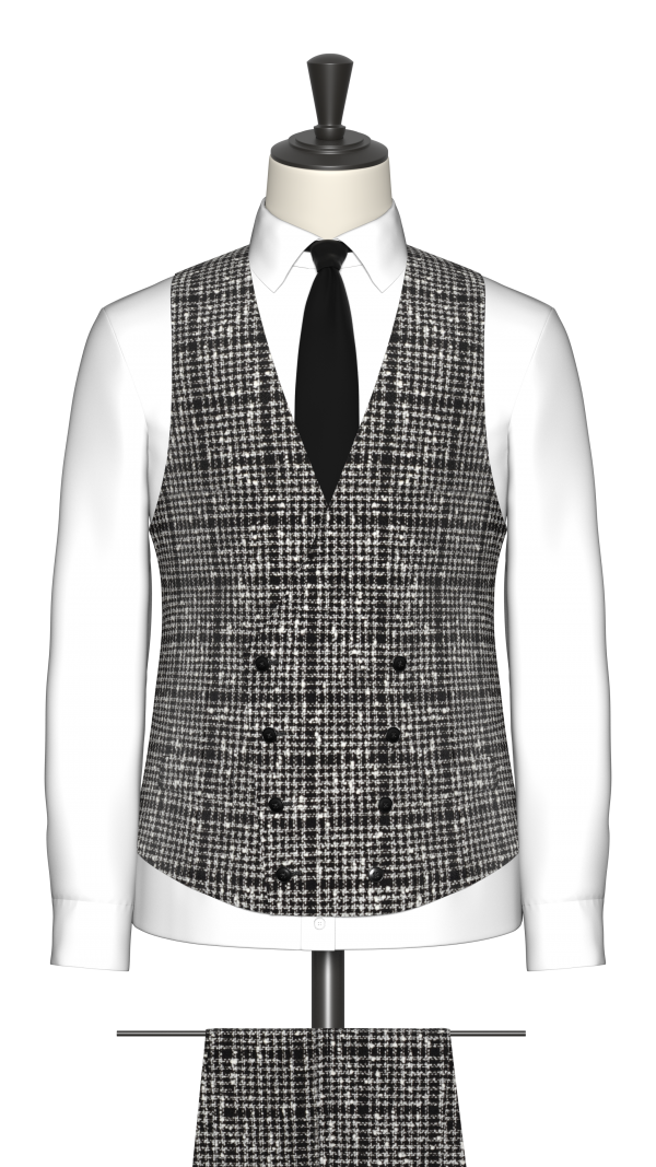 Black and White Boucle Check Waistcoat